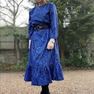 ZARA Blue Animal Print Round Neck Flowing Dress